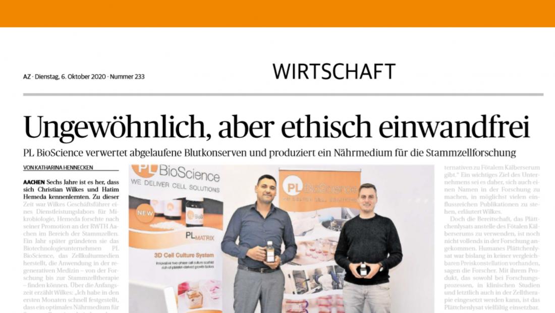 Pressemitteilung PL BioScience Aachener Nachrichten