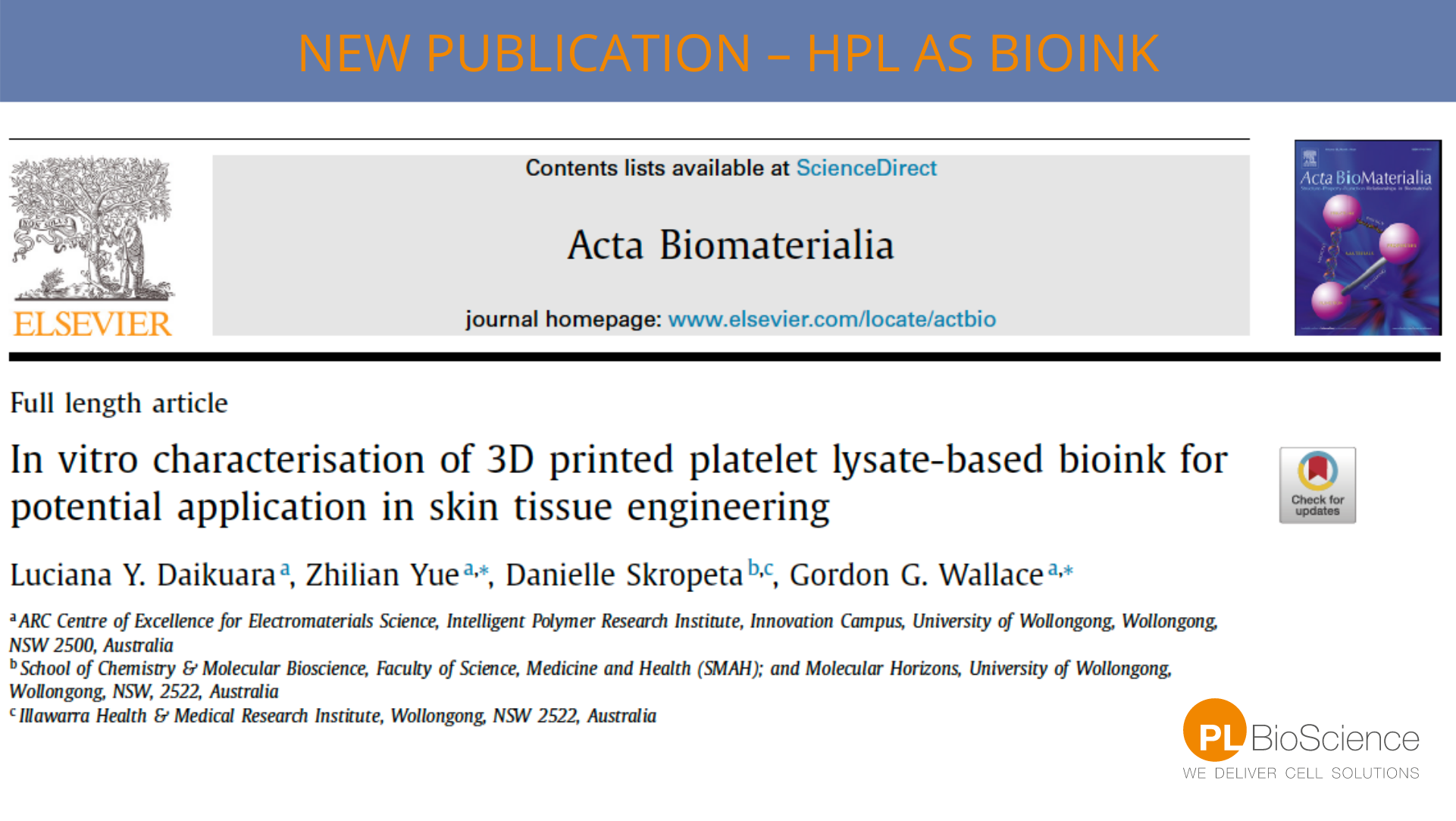 Human Platelet Lysate as bioink for 3D bio-printing