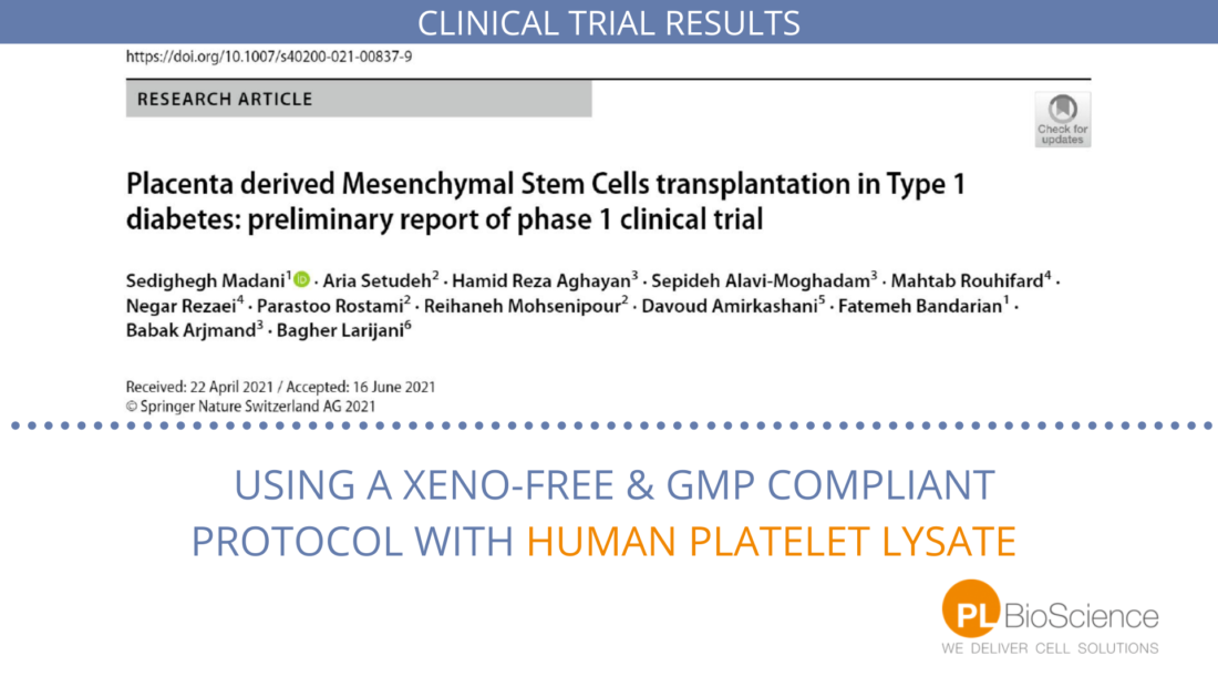 Phase 1 Clinical trial cell therapy diabetes with human Platelet Lysate
